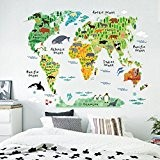 Vovotrade Carte du monde animal amovible Decal Art Mural Home Decor Stickers muraux