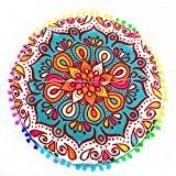Vovotrade Coussins de Sol pour Mandala Indienne Coussins de Bohème Ronds Coussins Housse d'oreiller (A)