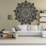 Vovotrade Fleur de mandala indienne Mur de la cChambre Décalque art Autocollants Mural Maison Vinyle Famille (noir)