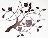Wall Art - Metal Wall Art - Bronze 4 Wise Owls Tree Branch by Brilliant Wall Art