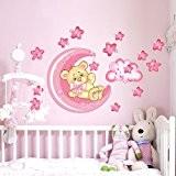 Wall Art r00317Stickers muraux pour enfants, petit ours de bonne nuit de lune, 60x 40x 0,1cm Rose/multicolore
