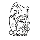 Wallpaper Shower Time Cartoon Wall Stickers For Bathroom Washroom Removable Mural DIY Decor by ASTrade