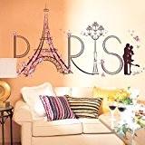 Wallpark Créatif Rose Fleur Papillon Paris Tour Eiffel Romantique Embrasser Amoureux Amovible Stickers Muraux Autocollants, Salon Chambre Maison DIY Décoratif ...