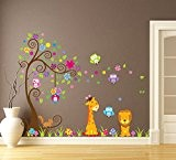 Wallpark Grand Coloré Fleur Arbre avec Mignon Hiboux Girafe Lion Amovible Stickers Muraux Autocollants, Enfants Bébé Chambre Pépinière DIY Décoratif ...