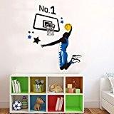 Wallpark Jouant Basket-ball Sportif Amovible Stickers Muraux Autocollants, Salon Enfants Chambre Pépinière DIY Décoratif Adhésif Stickers Mural