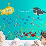 Wallpark Océan Monde Sous-marin Baleine Poisson Crabes Amovible Stickers Muraux Autocollants, Enfants Bébé Chambre Pépinière DIY Décoratif Adhésif Stickers Mural