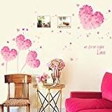 Wallpark Romantique Rose Amour Cœur Fleur Cadre Photo Amovible Stickers Muraux Autocollants, Salon Chambre Maison DIY Décoratif Adhésif Stickers Mural