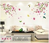 WallPicture Art-Pink Plum Blossom Flower & Bird Decal Mural Art Wall Sticker For Home Room Decoration TXK-A0011QT by Wall Sticker