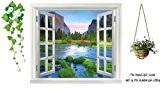 Walplus Autocollant mural trompe l'oeil Fenêtre avec vue sur rivière