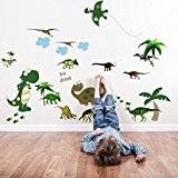 Walplus Large pack combo sticker mural AY7008 dinosaure Plus JM8195 dinosaure, multicolore