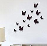 Walplus Lot de 12 stickers muraux Papillons 3D Noir