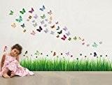 Walplus Pack combo sticker mural AY768 Coccinelle dans l'herbe Plus WS3013 Papillons Plus Butt 3D bleu clair, multicolore
