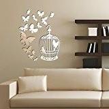 Walplus Set de Stickers muraux avec un clip, miroir mural en forme de cage à oiseaux avec Papillons-Miroir mural, 60 ...