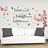 Walplus Sticker mural Fleurs et papillons Live Laugh Love