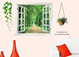 Walplus Sticker mural géant 3-D Décor fenêtre ouvrant sur végétation Vert