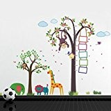 Walplus Sticker mural Singe ws9041 Nursery Hauteur Mesure Plus df5071 Animaux Arbre, Lot de 1, multicolore