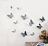 Walplus Sticker mural WS1013 3D miroir/papillons, multicolore