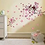 Walplus Stickers muraux 3D pour chambre d'enfant Papillons/fleurs Rose