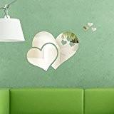 Walplus Stickers muraux 57x 37cm Miroir mural cœur cristal Art abstrait mur autocollants maison décoration DIY Salon Chambre amovible en ...