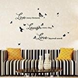 """Walplus Stickers muraux Lucida """"Live Laugh Love autocollant mural amovible en vinyle Art Stickers Décoration DIY Salon Chambre Décor Papier ..."""
