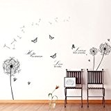 Walplus Stickers muraux Motif pissenlit Noir + WS6016 WS3024G Learn Live Hope Sticker mural Lot de 2 cartouches d'encre Multicolore