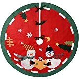 WeRChristmas Bonhomme de neige famille Jupe de sapin de Noël, en tissu, multicolore, 120cm, grand