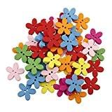 WINOMO 100pcs Colorée Fleur Flatback Bois Boutons Couture Scrapbooking Craft