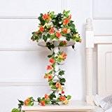WINOMO 2pcs artificiel Rose fleur soie rotin Simulation lierre vigne guirlande mariage partie Maison décor (jaune + Orange)