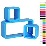 WOLTU 9215 Lot de 3 étagère murale Cube,étagère CD DVD murale en bois MDF,Bleu