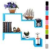 WOLTU RG9245bl,Lot de 2 étagère murale MDF,CD étagère,étagère cube murale,étagère tablette en bois,Bleu