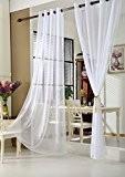 WOLTU VH5513ws,1 pièce Rideaux voilages transparent à oeillets, Douceur d'intérieur pour fenêtre, 140x225 cm, Blanc