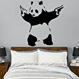 Wondrous Wall Art Banksy Sticker mural Panda avec pistolets XL