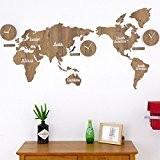 WZ Wallclock DIY brown 3D world map horloge murale en bois muets quartz créative décoration mural bureau salon chambre à ...