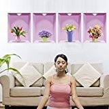 XL-4- PVC amovibles vert vase 3D wall stickers muraux , 60*90