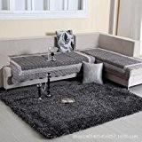XNWP-6cm d'épais tapis tapis de soie table basse salon chambre à coucher lit,tapis moquette gris foncé 160*230cm
