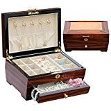 XYLUCKY Nouveau style Boîte à bijoux en bois massif