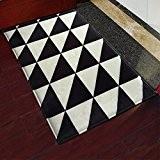 yazi géométrique Patterns Noir Tapis de porte en flanelle blanc décoration pour chambre salle de bain 40x 60cm
