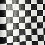 yazi Mosaik Papier peint autocollant amovible murale Reconditionné Stickers Cuisine Porte coulissante Decor cadeau Noir Blanc 0,45x 10m