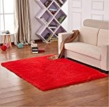 Yontree Tapis de sol Shaggy Confortable Moquette Anti-dérapage Absorbant Velours Décoration 120cm x 80cm Rouge