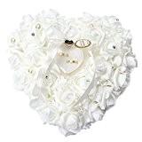 Yosoo 15x13cm Blanc romantique Wedding Rose Anneau Box Rose Coeur Favors Wedding Ring oreiller avec bijoux élégants cas Accessoires de ...