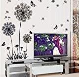 Yuhemii papillon pissenlit sticker mural stickers muraux fond Peinture en Verre Noir