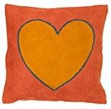 Zaida Housse de coussin 30 x 30 cm, laine et coton Motif cœur en or