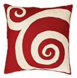 Zaida Housse de coussin 45 x 45 cm Coussin en laine et coton Motif tourbillon Rouge