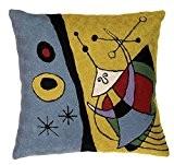 Zaida Housse de coussin 45 x 45 cm Coussin en laine et coton Motif inspiré de Miro Alien