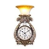 ZHGI Harpe européenne créatif lampe murale horloge murale, muet de lumière nuit suspendus grand table, salle de séjour simple horloge, ...
