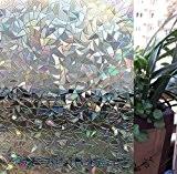Zindoo No-Glue Non adhésif Statique Décoratif 3D Fenêtre Film, Vitre de confidentialité Fenêtre Film Autocollant, Film Sticker Anti-UV (44.5CM x ...