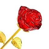 ZJchao Cristal Rose, Rose Eternelle, Rose Fleur avec 24k Plaqué Or Longue Tige dans Boîte-Cadeau , Cadeaux Elégant de la ...