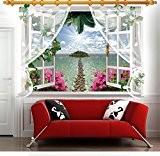 zooarts 3D Fenêtre lsle lumière du soleil paysage mur Sticker Decals Sticker vinyle amovible chambre decor Papier peint