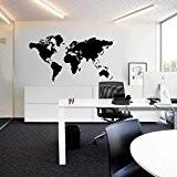 zooarts Big Noir Carte du monde Chambre amovible Stickers muraux Stickers vinyle Home Art Decor Papier peint