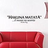 """zooarts Hakuna Matata """"Cela signifie Aucun Problème?: Citation mur autocollants amovible vinyle Maison Decor Chambre Papier peint"""